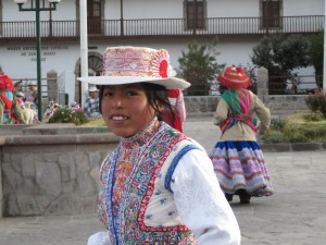 A girl in a small Andes town