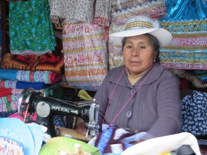 A hat-maker in the highlands, Peru