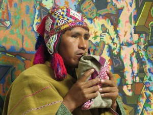 An Andes shaman giving a blessing