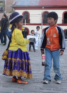 Children at a carnival in Puno, Peru