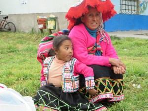 Grandma and granddaughter--Andes, Peru